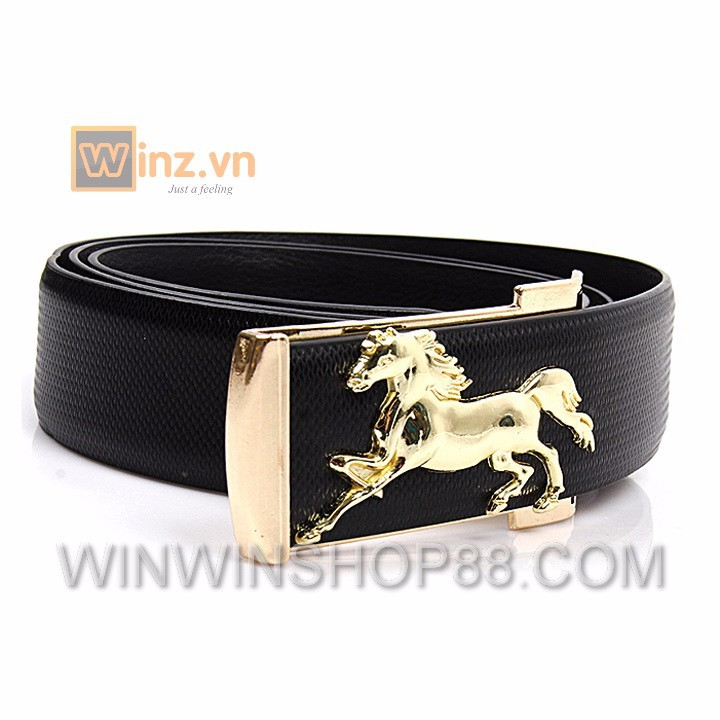 Dây nịt hình con ngựa dn35 dây đen, mặt vàng cung cấp bởi winwinshop88