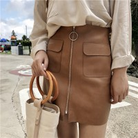 Chân váy da ngắn 2 túi dây kéo CHỈ CÒN MÀU NÂU