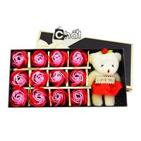 Quà 8-3 – Hộp Sweet Love 12 Hoa Hồng Sáp Kèm Gấu Bông I Love You