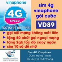 Sim DATA 4G Vinaphone 62GB nghe gọi miễn phí trong 12 tháng