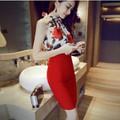 Set áo hoa cổ yếm chân váy ôm TAT0456D