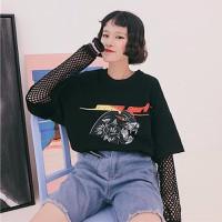 áo thun nữ oversize tay lưới Mã: AX3343 - ĐEN