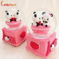 Hộp nhạc quả cầu tuyết cặp đôi gấu trúc Panda QCT23 candyshop88.vn