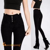 Quần nữ quần jean lưng cao đính đá GLQ045