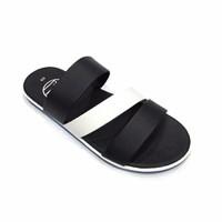 Dép sandal nam màu trắng đen 3 quai ngang thời trang