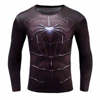 Áo phông nam dài tay Body nhện đen 3D