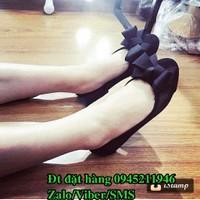 C89 Giày búp bê đính nơ xếp vải mềm