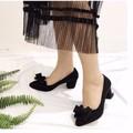 giày gót vuông nơ