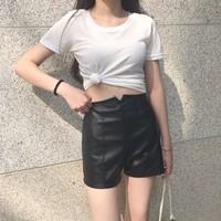quần short da cạp cao Mã: QN797
