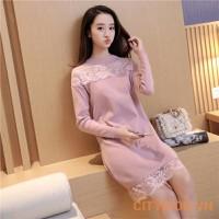 Đầm Bầu Thu Đông - Váy Len Pha Zen Cách Điệu - Hồng