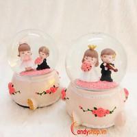 Hộp nhạc Quả Cầu Tuyết Wedding QCT20 - Music box candyshop88.vn