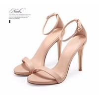 giày sandals cao gót xinh màu kem