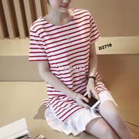 Đầm suông sọc chân váy xoè ngắn tay xinh xắn,trẻ trung,dễ thương-D2719
