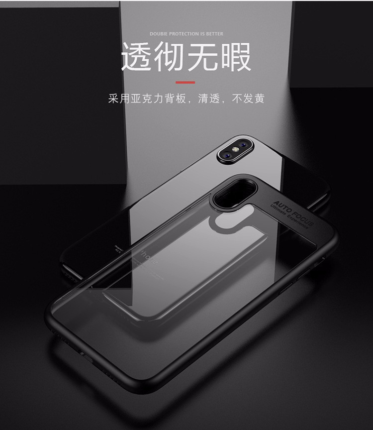 Ốp lưng iPhone X - Viền nhựa chống sốc, mặt lưng trong suốt