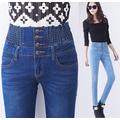 Quần Jeans Cạp Chun Vải CoGiãn,lung,nút,nam,thêu,mau xam trang,rách,Nữ