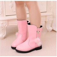 Còn ĐEN - Giày trẻ em boot ống tua rua lông