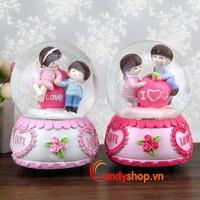 Hộp nhạc Quả Cầu Tuyết tình nhân QCT22 - Music box candyshop88.vn
