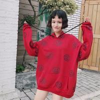 áo sweatshirt oversize mặt buồn Mã: AX3329 - ĐỎ