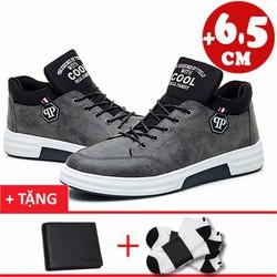 Giày tăng chiều cao 6.5cm+1 ví da+2 đôi tất khử mùi 8901XM