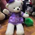 Thú bông gấu bông gấu váy xanh đính hoa 1m1