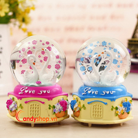 Hộp nhạc Quả Cầu Tuyết thiên nga QCT24 đèn led - Music box candyshop88