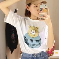 Áo thun nữ- Áo thun gấu phom Hàn Quốc- 4287- Hàng Nhập