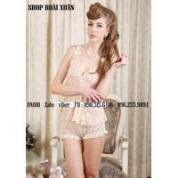 bộ đồ ngủ thun lưới pha ren mềm mịn mát hàng xuất khẩu - BN010