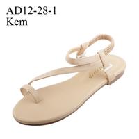 Giày sandal nữ I Giày xăng đan xỏ ngón màu kem - AD12-28-1