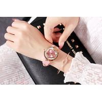 đồng hồ nữ dây da màu hồng