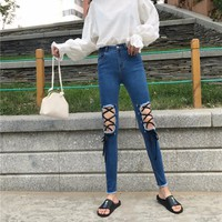 quần jeans skinny rách đan dây Mã: QD1627 - XANH