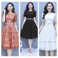 Đầm Ren Hoa Tay Đính Nơ Duyên Dáng Hot - d1003