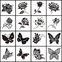 Combo 5 Hình xăm dán tattoo hoa AR và bướm AM - candyshop88.com