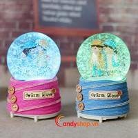 Hộp nhạc Quả cầu tuyết tình nhân QCT8 đèn led - Music box candyshop.vn