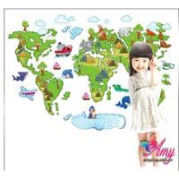 Decal dán tường Bản đồ thế giới cho bé yêu 2