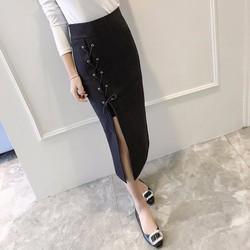 Hàng nhập cao cấp chân váy xẻ tà dây đan CV01