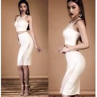 Set áo váy thiết kế phối ren ôm body tuyệt đẹp