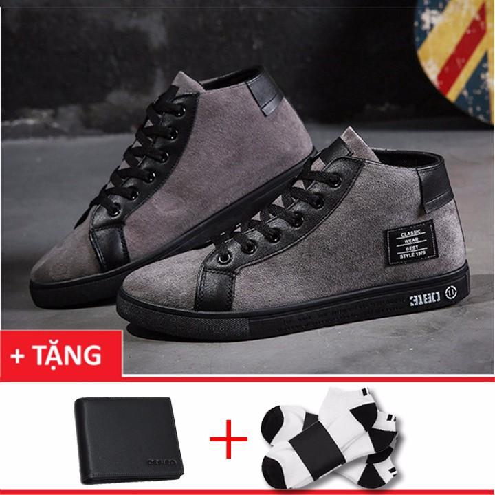 Giày sneaker nam cá tính+1 ví nam +1 đôi tất khử mùi t101xm