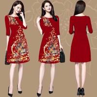 Đầm suông in 3D họa tiết