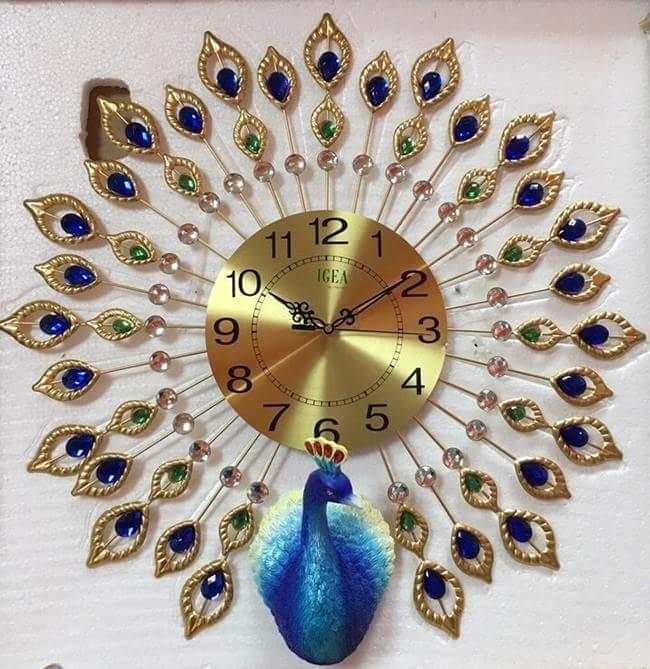 Đồng hồ pha lê treo tường trang trí hình con công H6005