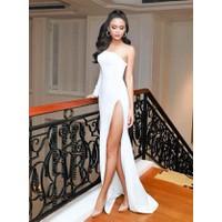 Đầm dạ hội trắng lệch vai