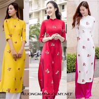Set áo dài truyền thống bông thêu kèm quần lụa