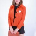 Áo Khoác dạ dáng ngắn cao cấp, tặng kèm nơ cài- Màu cam đất