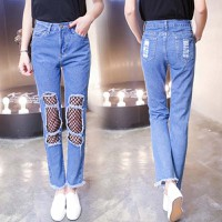 quần jean nữ phối lưới Mã: QD1676