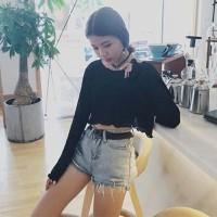 áo crop top tay dài Mã: AX3370 - ĐEN