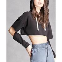áo hoodie crop top xẻ tay Mã: AX3394 - ĐEN