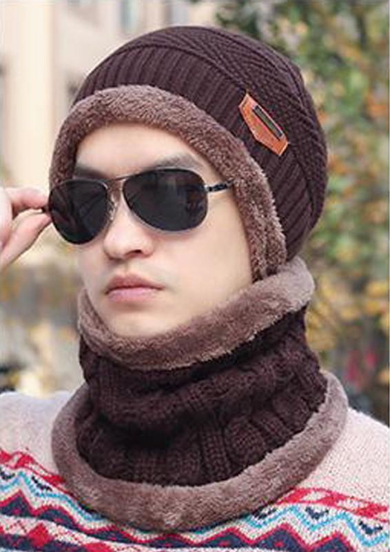 Mũ len có khăn chùm cổ lót lông [Nâu]