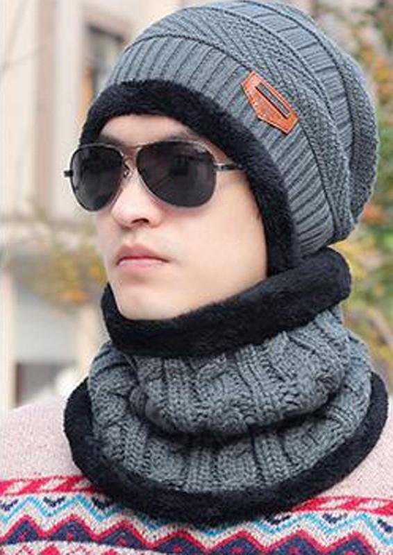Mũ len có khăn chùm cổ lót lông [Xám]