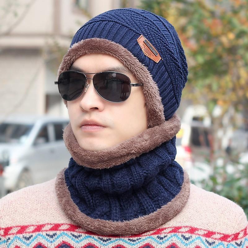 Mũ len có khăn chùm cổ lót lông [Xanh viền nâu]