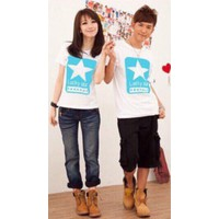 Áo thun cặp thời trang họa tiết Lucky Star chao cấp