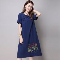 Đầm Jean Cổ Tròn  Chân Váy Thêu Hoa